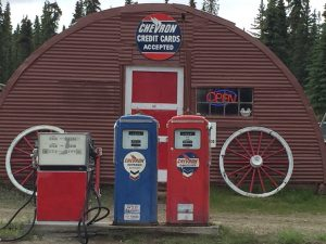 Our gas station - honoring the past with the antique gas pumps